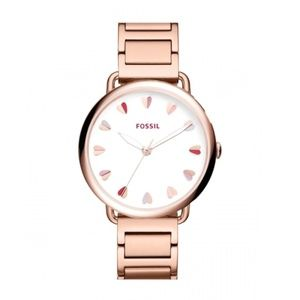 ROSE GOLD FOSSIL WATCH WITH HEART DESIGN - 0482